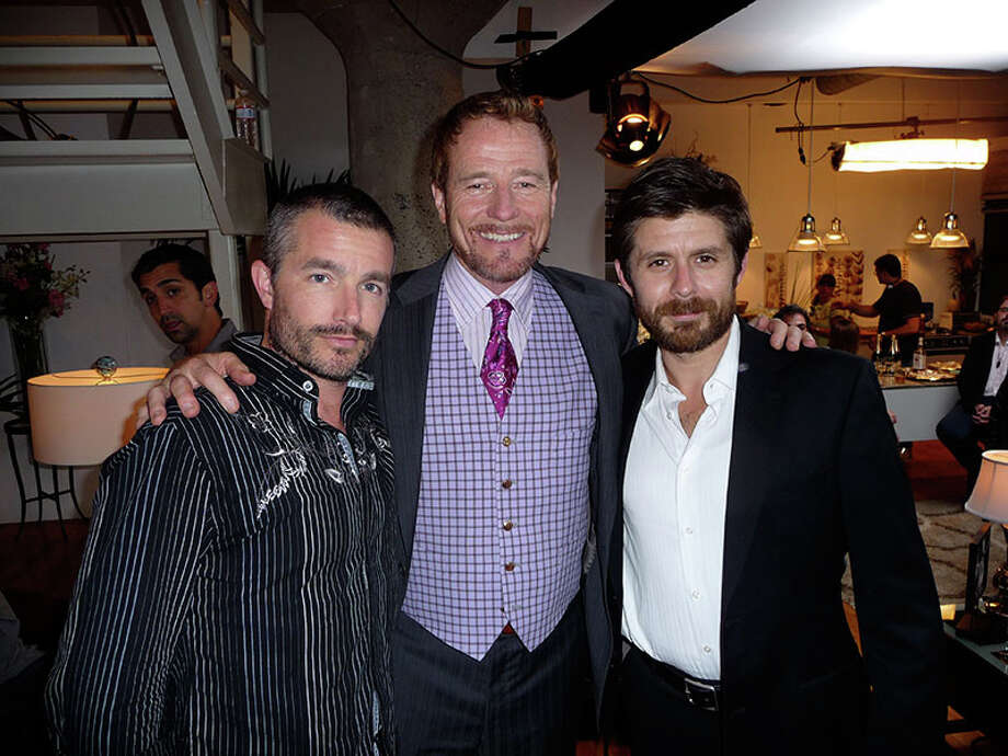 """Left to right from """"Leave,"""" an award-winning independent feature film, are co-stars Frank John Hughes, Bryan Cranston and Rick Gomez. The film will be screened in Ridgefield Friday, March 30. Photo: Contributed Photo"""