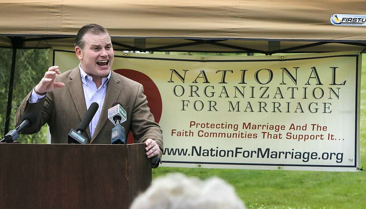 FILE - In this July 14, 2010 file photo, Brian Brown, president of the National Organization for Marriage, speaks at a rally for opponents of same-sex marriage, in Augusta, Maine. The leading national organization opposing same-sex marriage has sought to split the Democratic Party base by pitting African-Americans and Hispanics against gay-rights groups, according to confidential strategy memos made public by court officials in Maine on Monday, March 26, 2012. (AP Photo/Robert F. Bukaty, File)