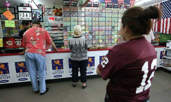 "People line up to buy lottery tickets at Rudy's Stop & Shop, Tuesday, March 27, 2012, in Rosenberg, where folks flock to this store known as the ""biggest lottery seller in Texas"" as Mega Millions is up to $363. Photo: Karen Warren, Houston Chronicle / © 2012  Houston Chronicle"