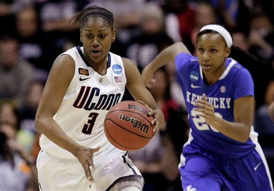 UConn guard Tiffany Hayes (3) brings the ball up as Kentucky guard Maegan  Conwright (20) follows during the first half of the NCAA women's college  basketball tournament East Regional final in Kingston, R.I., Tuesday,  March 27, 2012. (AP Photo/Stephan Savoia)