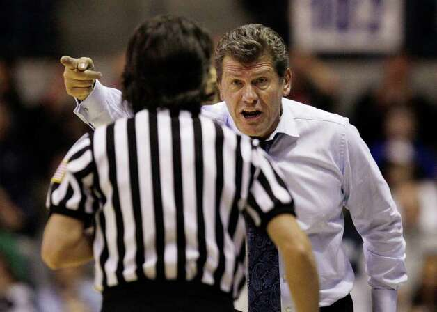 Connecticut coach Geno Auriemma expresses his displeasure with a call during the second half of the NCAA women's college basketball tournament regional final against Kentucky in Kingston, R.I., Tuesday, March 27, 2012. Connecticut won 80-65. (AP Photo/Stephan Savoia) Photo: Stephan Savoia, Associated Press / AP