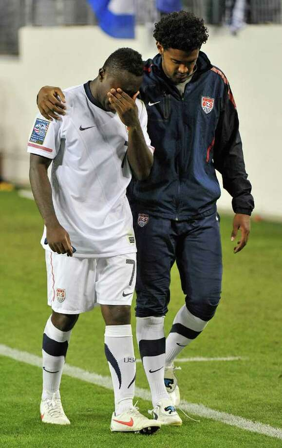 Freddy Adu and the rest of the U.S. team can bid adieu to appearing in the Olympics after Monday's tie. Photo: Frederick Breedon / 2012 Getty Images