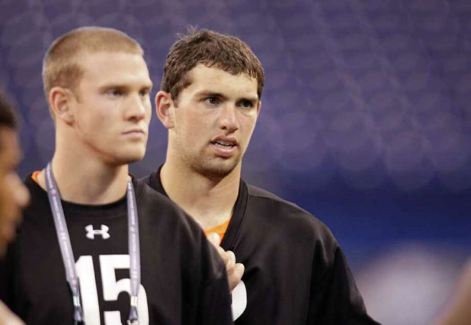 Stanford quarterback Andrew Luck, right, and Texas A&M quarterback Ryan Tannehill at the NFL football scouting combine in Indianapolis, Sunday, Feb. 26, 2012. 7-on-7 camps have helped Texas quarterbacks shine in the national spotlight. Here's a look at quarterbacks from Texas high schools who have been drafted  since 1990. The most in a given year is four (2009 and 2011), while five  times no one was selected: Photo: Michael Conroy / AP