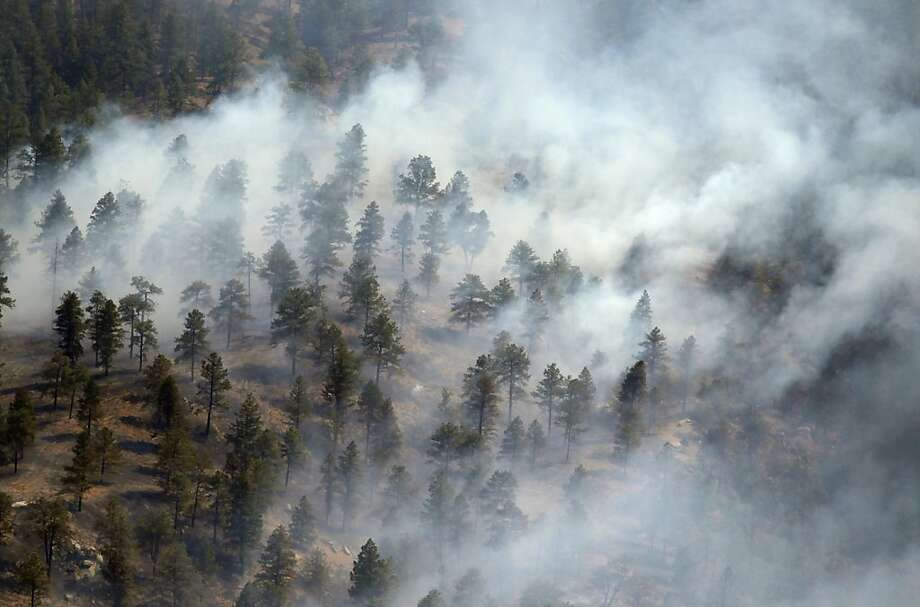 Smoke envelops trees on a ridge in the Lower North Fork Wildfire as it burns in the foothills community of Conifer, Colo., southwest of Denver on Tuesday, March 27, 2012. Firefighters are now able to actively battle the blaze on the ground that started on Monday and has already destroyed at least 16 homes in the rugged terrain. Photo: David Zalubowski, Associated Press