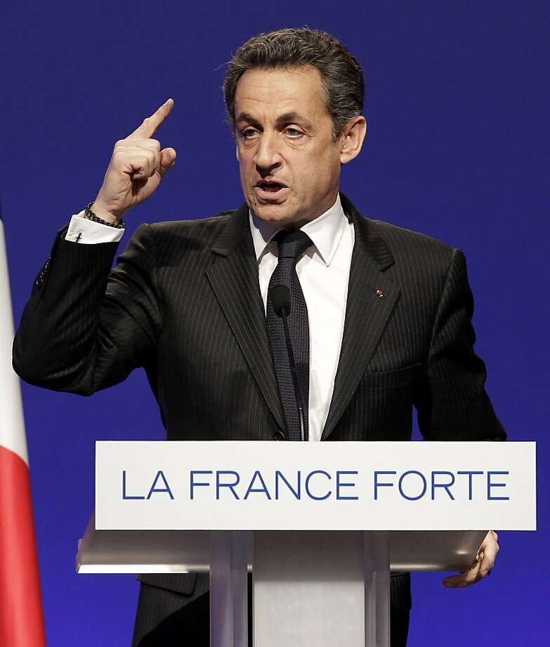 French President and candidate Nicolas Sarkozy gestures as he delivers a speech during a campaign meeting in Nantes, western France, Tuesday, March 27, 2012. Photo: Michel Euler, Associated Press