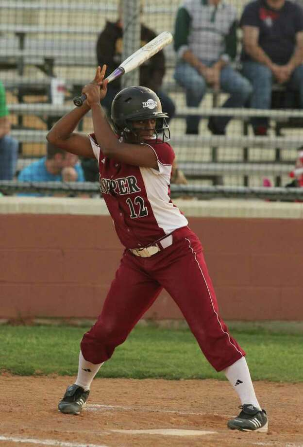 Shawneece Jones prepares to take a cut during a district game last week. Jones hit a pair of homers to pace Jasper to a big win over Huntington. Photo: Jason Dunn