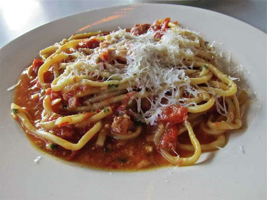 Paulie's house-made bucatini Amatriciana is served with smoked bacon and chili flakes. Photo: Alison Cook