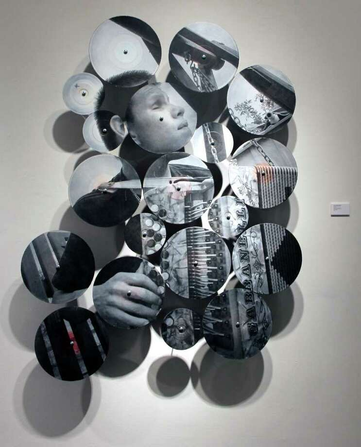 "Guillermina Zabala used vinyl records to create this installation in her exhibit ""Juanito."" Photo: Guillermina Zabala"