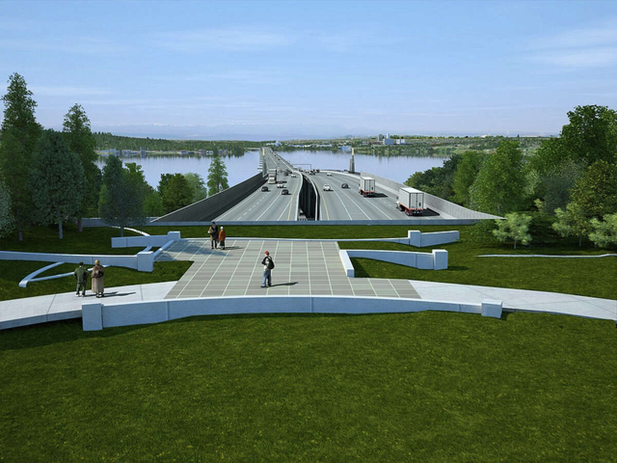 A view of the new SR 520 Bridge from a rendering of the Evergreen Point Road lid. Final design of the lid still is underway.