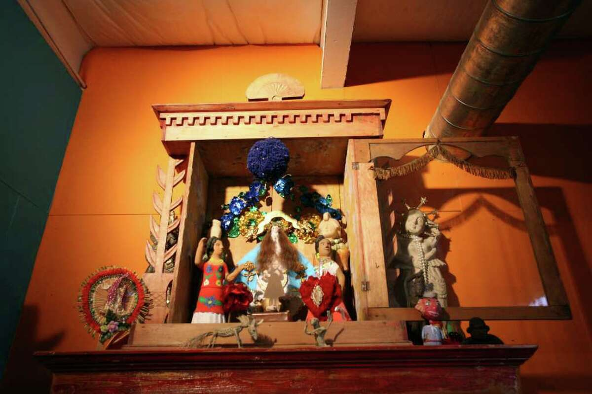 An altar, one of several, in Bettie Ward?•s studio.