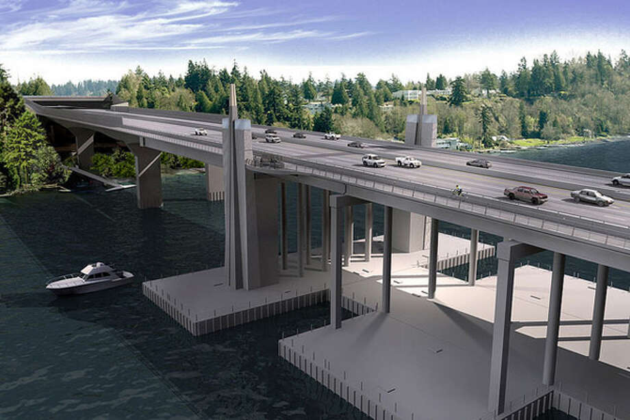 This first visualization gives a better idea of how much bigger the new bridge will be. This shows where the new floating section transitions to the fixed approach bridge heading into Medina. Photo: Washington State Department Of Transportation / WSDOT