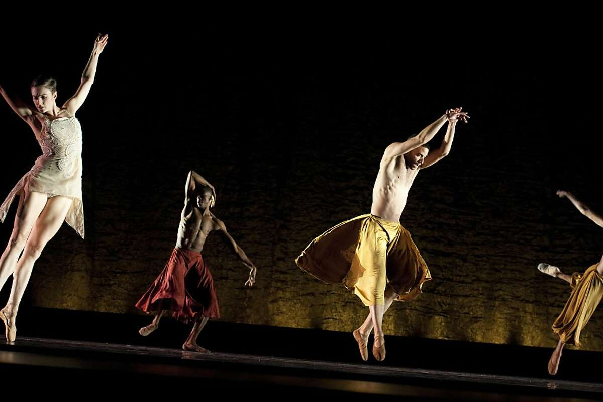 Attached are more images of Alonzo King LINES Ballet/Scheherazade Image #2 (title Scheherazade group) Pictured: Meredith Webster, Corey Scott-Gilbert, Ricardo Zayas Photo by Susana Millman