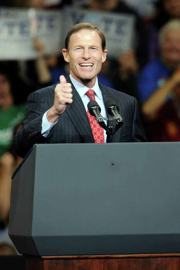 U.S. Sen. Richard Blumenthal, D-Conn., seen here speaking at a rally for President Barack Obama at the Arena at Harbor Yard in Bridgeport Oct. 30, 2010, opposes a mandate, which is being imposed by some employers, that workers turn over their usernames and passwords for their Facebook accounts as part of the corporate vetting process. Photo: Christian Abraham, ST / Connecticut Post