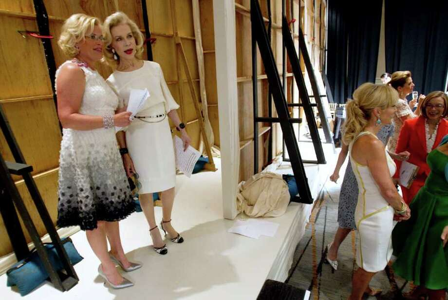 Kelli Blanton, left, and Lynn Wyatt stand together backstage before the annual Houston Chronicle Best Dressed Luncheon Wednesday, March 28, 2012, in Houston. Photo: Brett Coomer, Houston Chronicle / © 2012 Houston Chronicle