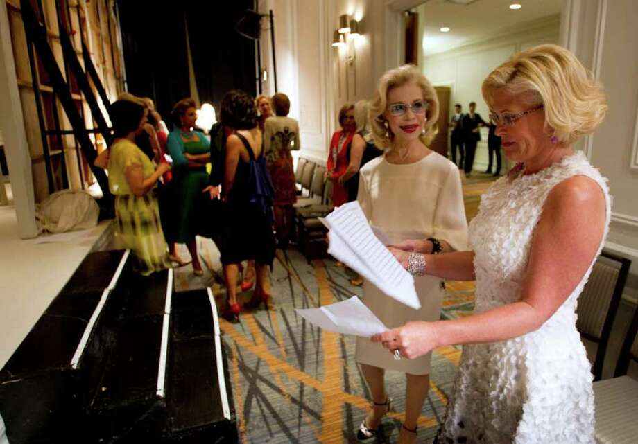 Kelli Blanton, right, and Lynn Wyatt stand together backstage before the annual Houston Chronicle Best Dressed Luncheon Wednesday, March 28, 2012, in Houston. Photo: Brett Coomer, Houston Chronicle / © 2012 Houston Chronicle