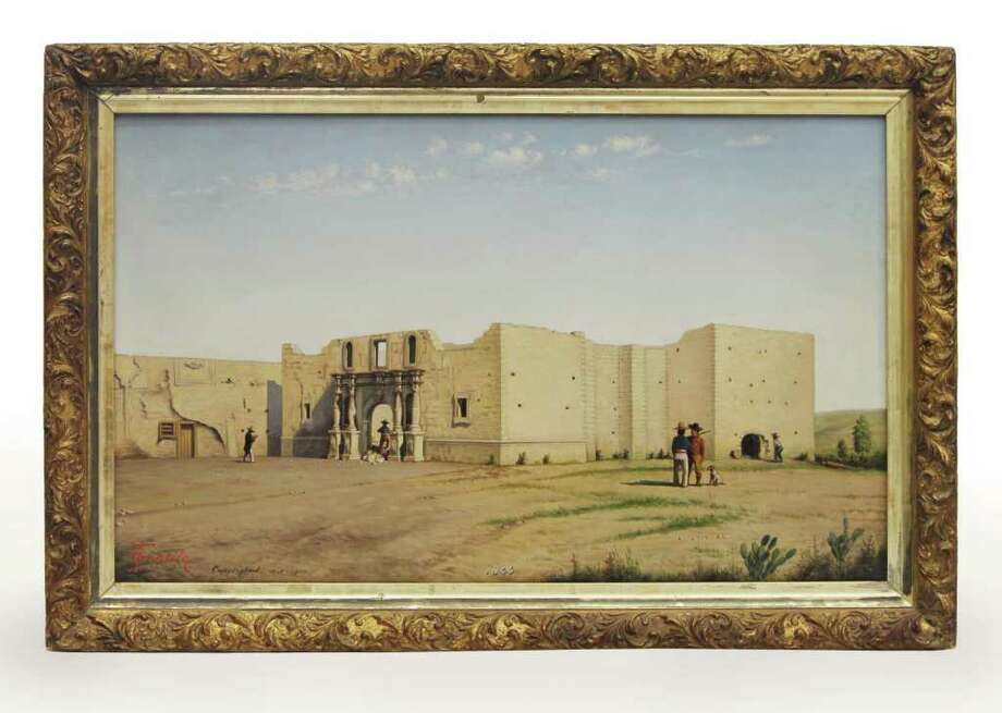 A painting of the Alamo by Theodore Gentilz is on exhibit at the San Antono Museum of Art. Photo: Jeanna Goodrich, San Antonio Museum Of Art