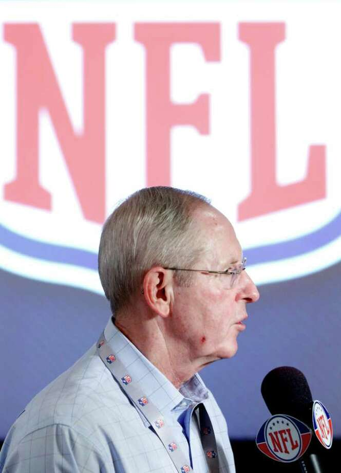 New York Giants coach Tom Coughlin gives an interview at the NFL owners meeting in Palm Beach, Fla., Wednesday, March 28, 2012. (AP Photo/Luis M. Alvarez) Photo: Luis M. Alvarez