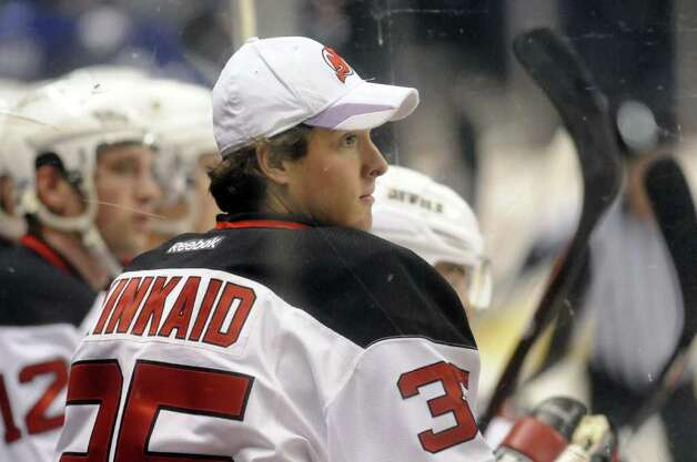 Albany Devils goaltender Keith Kinkaid watches from the bench during their game against Rochester at the Times Union Center in Albany N.Y., Wednesday March 28, 2012. (Michael P. Farrell/Times Union) Photo: Michael P. Farrell