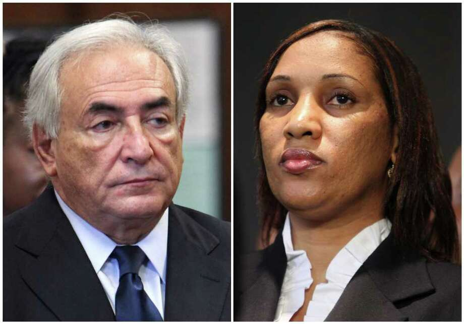 This combo made from file photos shows former IMF leader Dominique Strauss-Kahn on June 6, 2011, left, and Nafissatou Diallo on July 28, 2011, in New York. While Strauss-Kahn faces fresh charges in his native France amid a prostitution ring probe, a judge in New York may decide whether to allow a civil case against him filed by Diallo, the hotel maid who said he sexually assaulted her. The first hearing is likely to deal with complex laws that shield diplomats from prosecution and lawsuits in their host countries. (AP Photos) Photo: Allan Tannenbaum/Mary Altaffer