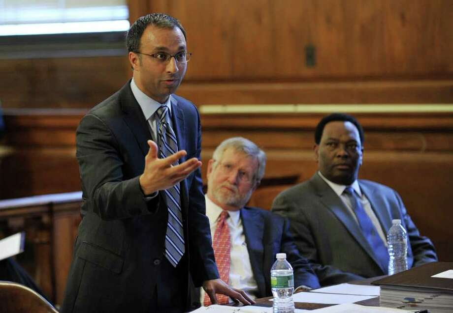 FILE - Then-attorney Amit Mehta, left, argues the status of Dominique Strauss-Kahn, as co-counsel William Taylor, center, and Hugh Campbell, listen in Bronx state Supreme Court in New York on Mar. 28, 2012. Mehta, who was appointed by President Barack Obama, said Trump cannot block a House subpoena of financial records.  Photo: Stan Honda