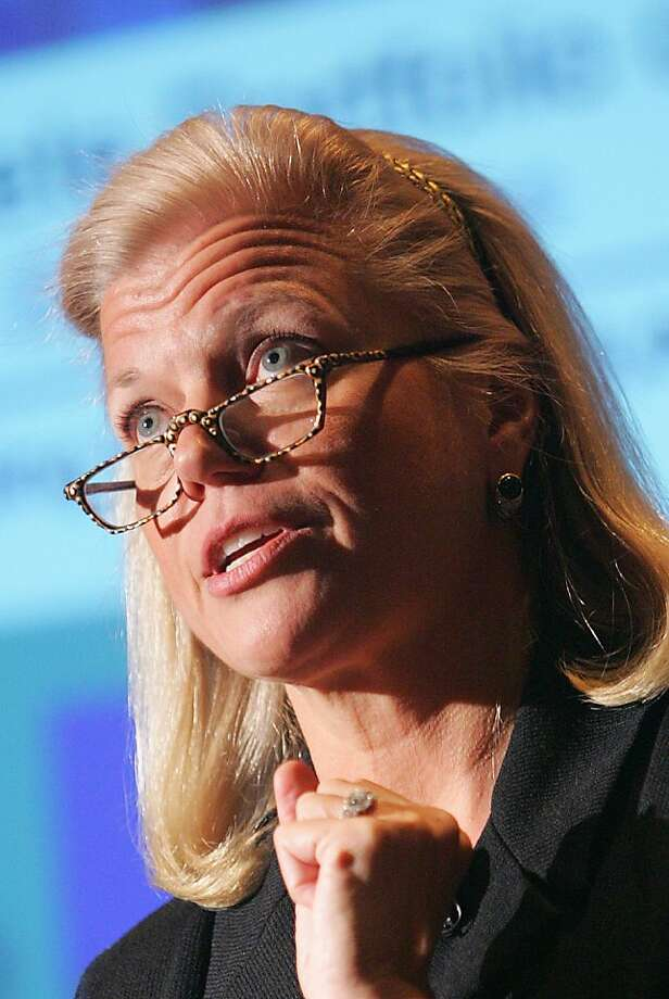 FILE - In this Feb. 16, 2006 file photo, IBM Senior Vice President Virginia Rometty speaks in New York. IBM on Tuesday, Oct. 25, 2011 announced that Rometty will succeed outgoing CEO Samuel Palmisano, who is retiring after reaching traditional retirement age of 60, effective Jan. 1, 2012. (AP Photo/Dima Gavrysh, File) Photo: Dima Gavrysh, Associated Press