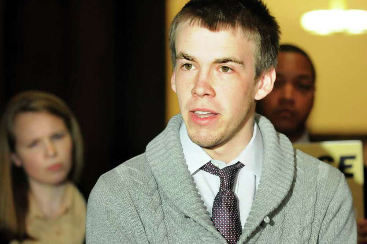 Sean Collins of New York Students Rising reacts to tax breaks for the wealthy on Wednesday, March 28, 2012, at the Capitol in Albany, N.Y. (Cindy Schultz / Times Union)