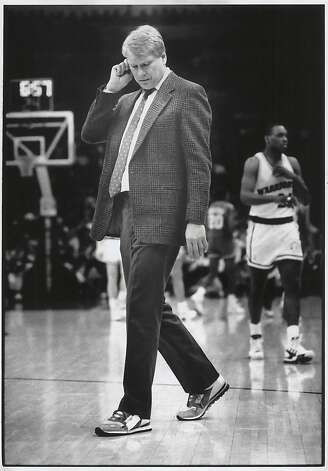 Warriors coach, Don Nelson walks on the court during a time out of a game against the Philadelphia 76ers at the Oakland Coliseum Arena in February 1990. Photo: Scott Sommerdorf, The Chronicle