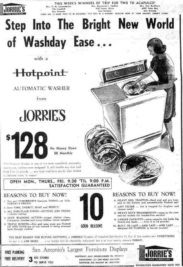 A $128 washer in 1966 cost the equivalent of $850 in 2010. Yowzah!