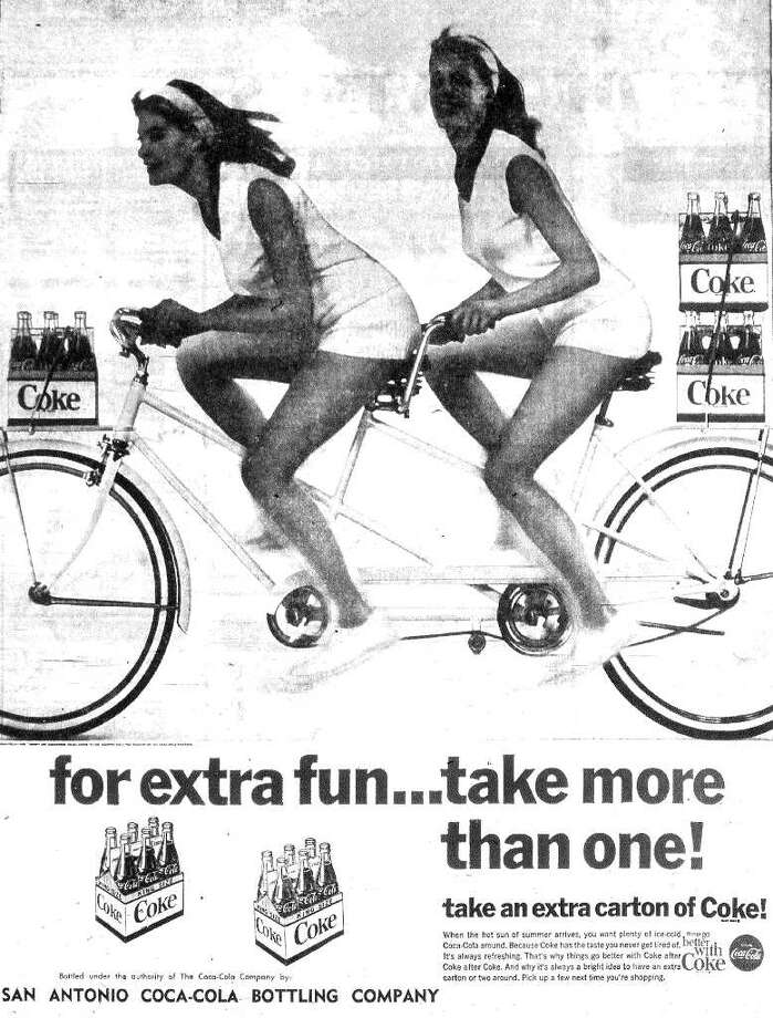 "This ad uses the classic line, ""Things go better with Coke,"" including, apparently, pretty girls."