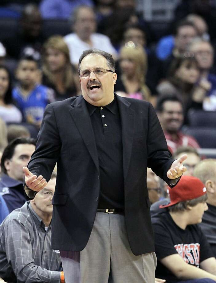 Orlando Magic head coach Stan Van Gundy has words with an official during the second half of an NBA basketball game Sunday, March 11, 2012, in Orlando, Fla. Orlando won 107-94.(AP Photo/John Raoux) Photo: John Raoux, Associated Press