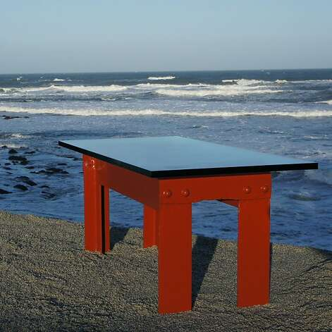Using recovered steel from the Golden Gate Bridge's redesign, the furniture is painted in international orange -- the official color of the bridge.  SONY DSC Photo: Christy Bulan