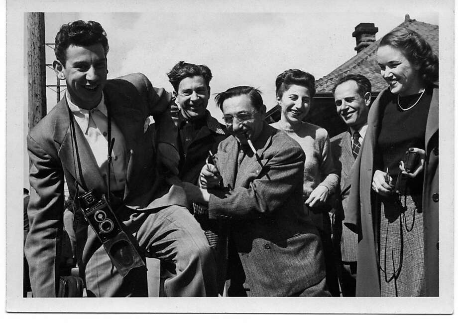San Francisco Symphony musicians pose for the camera during a brief stop along the 1947 Transcontinental Tour. From left: Willaim Sabatini (horn), Merrill Jordan (flute), Joe Sinai (percussion), Mafalda Guaraldi (violin), Orlando Giossi (trombone), Anne Everingham (harp). Photo courtesy of the Joseph Scafidi Personal Collection. Photo: San Francisco Symphony