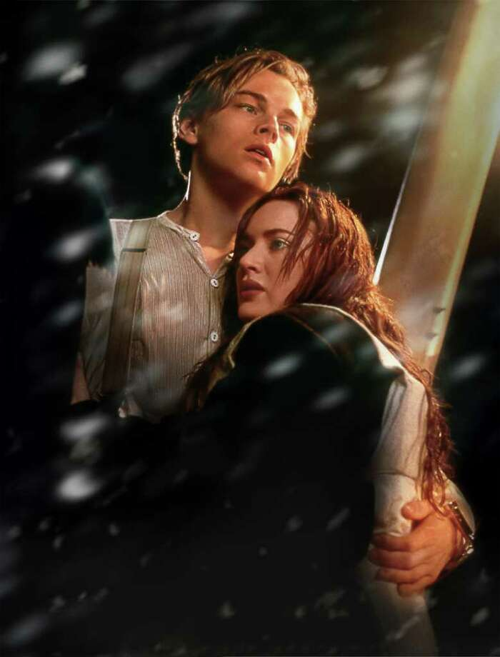 """In this film image released by Paramount Pictures, Leonardo DiCaprio, left, and Kate Winslet are shown in a scene from the 3-D version of James Cameron's romantic epic """"Titanic."""" (AP Photo/Paramount Pictures, Rick Lynch) Photo: Rick Lynch"""
