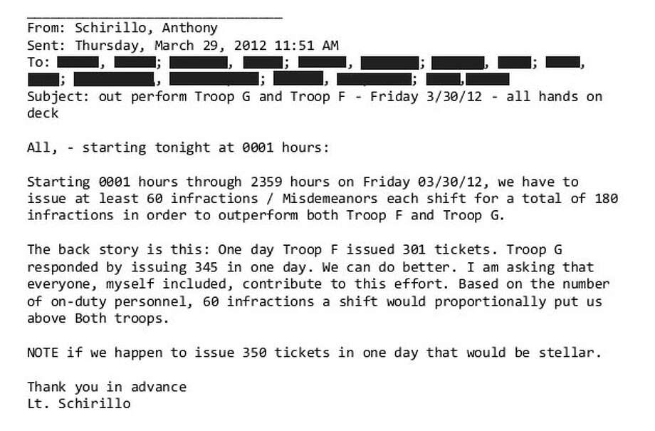 An e-mail from police Lieutenant Anthony Schirillo urging troopers to hand out more tickets. Photo: Contributed
