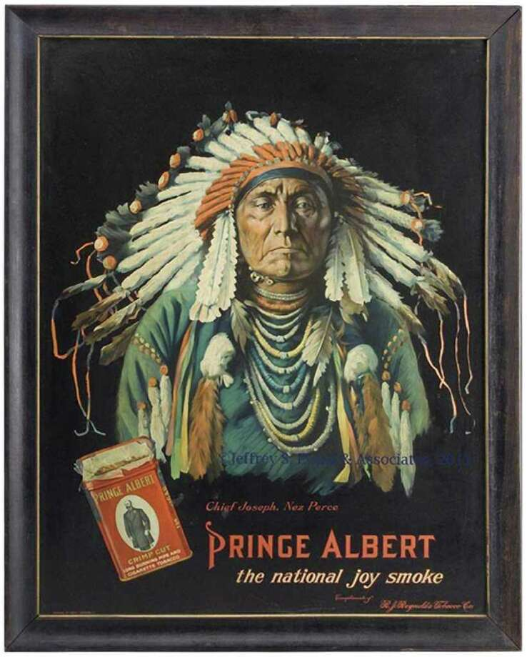 This lithographed tin sign, 22 by 28 inches, shows Chief Joseph of the Nez Perce American Indian tribe in full headdress, the red Prince Albert tobacco tin and the slogan, ìThe National Joy Smoke.î It sold in December 2011 for $8,400 at a Jeffrey S. Evans auction in Mt. Crawford, Va. Both the picture of the Indian chief and the famous Prince Albert tin added to the value. Photo: Contributed Photo