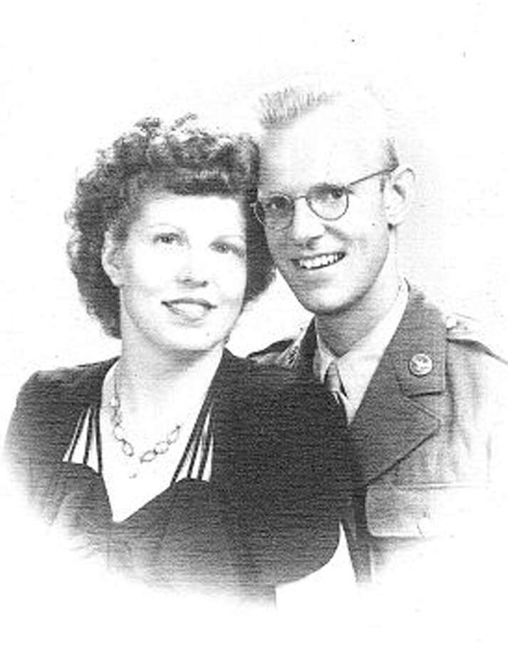 Mary and Bill Webster were married in Washington, D.C., on July 19, 1945, just days after Mary arrived. They first met in Kansas, where Bill, a Litchfield farm boy, was stationed after joining the Air Force during World War II. They have spent most of their married life living in New Milford. Photo: Contributed Photo