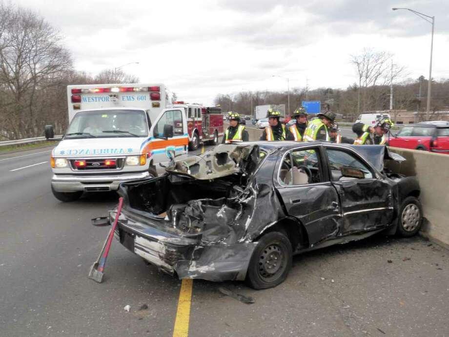 Car mangled, driver hospitalized in I-95 crash - Connecticut