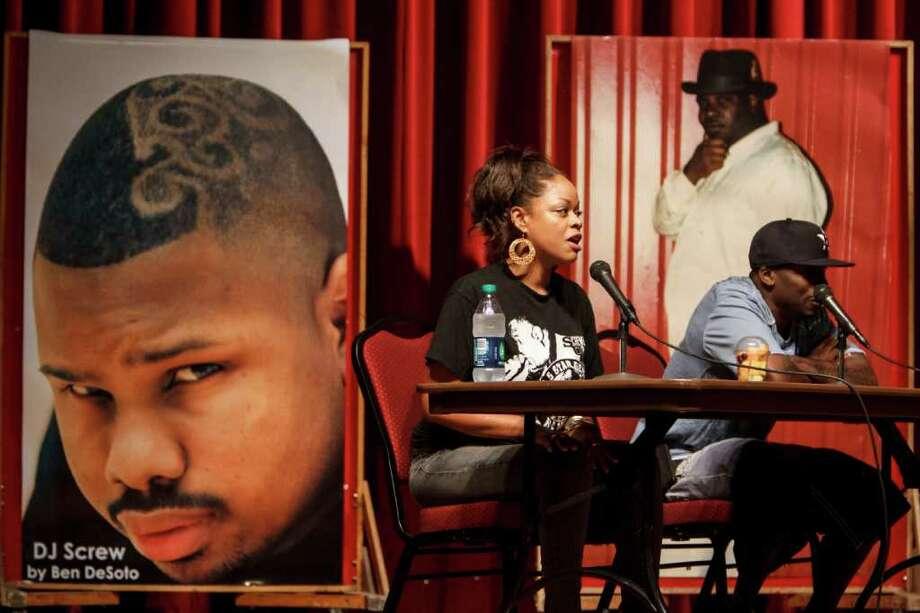 Mesha Hawkins and Lil' Keke speak during Awready! The Houston Hip Hop Conference. Photo: Michael Paulsen / © 2012 Houston Chronicle