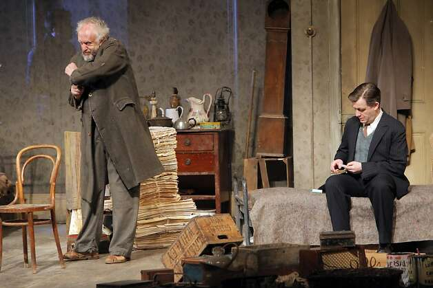 "Jonathan Pryce, left, and Alan Cox, right, in the dress rehearsal for SHN presentation of Harold Pinter's ""The Caretaker"" at the Curran Theatre in San Francisco, Calif., on Tuesday, March 27, 2012. Photo: Carlos Avila Gonzalez, The Chronicle"