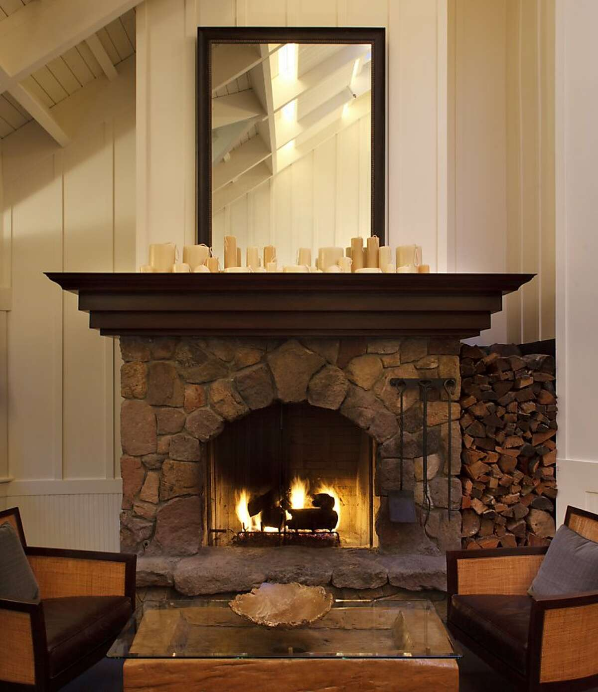 Fireplace in the bar/lounge of the Meadowood Resort restaurant.