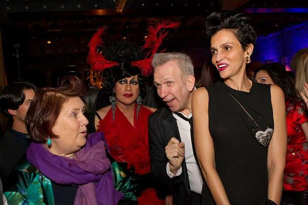 Fashion critic Suzy Menkes (from left), drag queen Juanita More, Jean Paul Gaultier and Farida Khelfa. Photo: Drew Altizer, Laura Morton For Drew Altizer Ph
