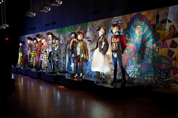 "The M. H. de Young's new exhibition, ""The Fashion World of Jean Paul Gaultier: From the Sidewalk to the Catwalk, "" opened March 23, 2012 with a series of events and parties honoring the designer, who was in town to celebrate. Here, mannequins wear his designs."