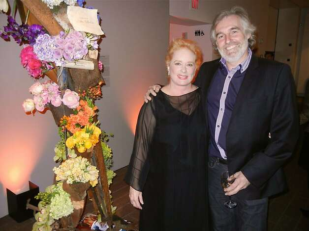 Floral designers Terry Gross (left) and Thierry Chantral created a floral tribute to the late FAM Director John Buchanan. March 2012. By Catherine Bigelow. Photo: Catherine Bigelow, Special To The Chronicle