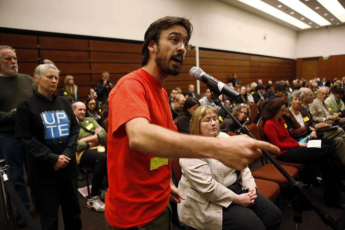 UC Berkeley and Los Angeles student Gustavo Oliveira speaks during the public comments portion of the UC Regents meeting at the William J. Rutter Center on UCSF Mission Bay Campus, on Thursday, March 29, 2012 in San Francisco, Calif.