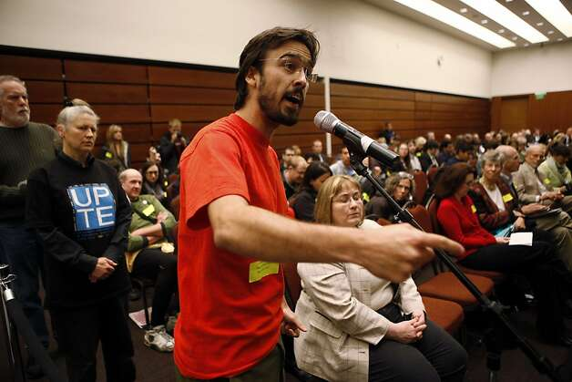 UC Berkeley and Los Angeles student Gustavo Oliveira speaks during the public comments portion of the UC Regents meeting at the William J. Rutter Center on UCSF Mission Bay Campus, on Thursday, March 29, 2012 in San Francisco, Calif. Photo: Beck Diefenbach, Special To The Chronicle