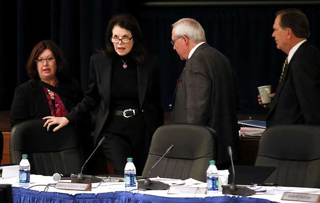 UC Board Chairwoman Sherry Lansing announces the suspension of the regents meeting after demonstrators refused to end their public comments at the William J. Rutter Center on UCSF Mission Bay Campus, on Thursday, March 29, 2012 in San Francisco, Calif. Photo: Beck Diefenbach, Special To The Chronicle