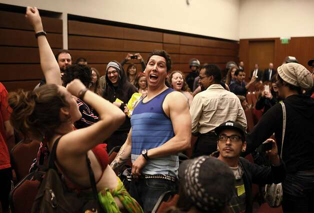 UCLA student Matthew Sandoval announces a spring break party after UC Regents suspended their meeting at the William J. Rutter Center on UCSF Mission Bay Campus, on Thursday, March 29, 2012 in San Francisco, Calif. Photo: Beck Diefenbach, Special To The Chronicle