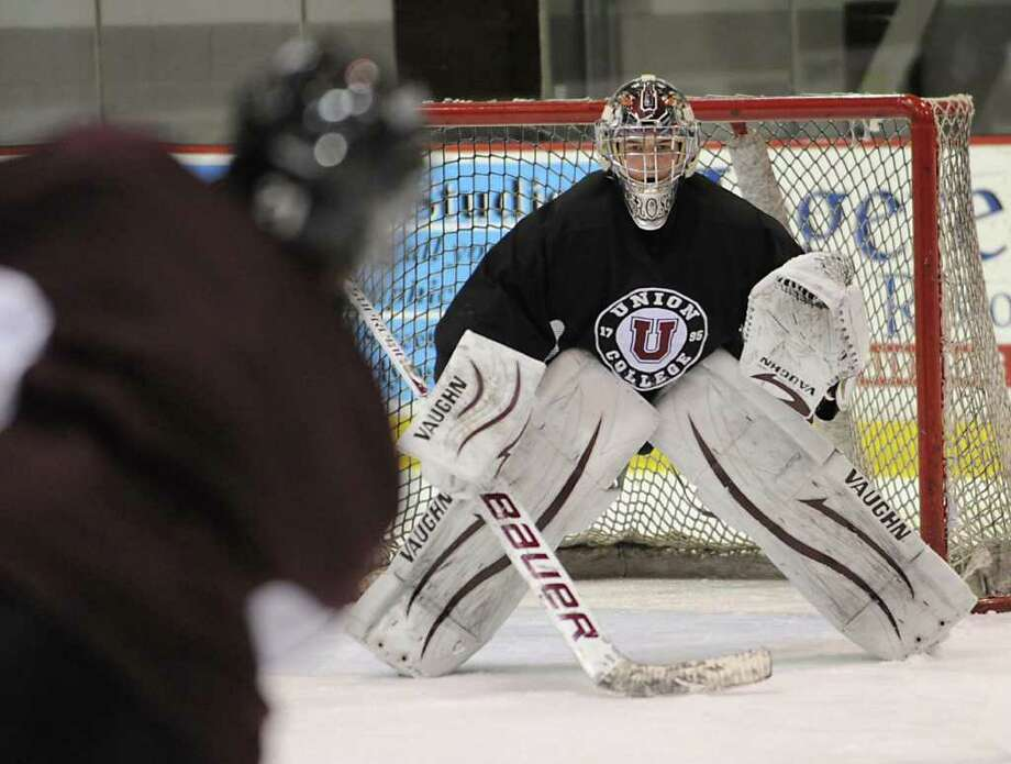 Union hockey goalie Troy Grosenick during practice Wednesday March 28, 2012 in Schenectady, N.Y. (Lori Van Buren / Times Union) Photo: Lori Van Buren