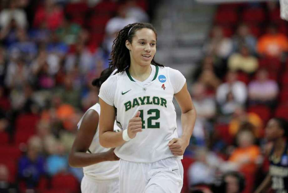 Baylors Brittney Griner (42) smiles after scoring against  Georgia Tech in their NCAA women's tournament regional semifinal college basketball game in Des Moines, Iowa, Saturday, March 24, 2012. Baylor won 83-68. (AP Photo/Nati Harnik) Photo: Nati Harnik