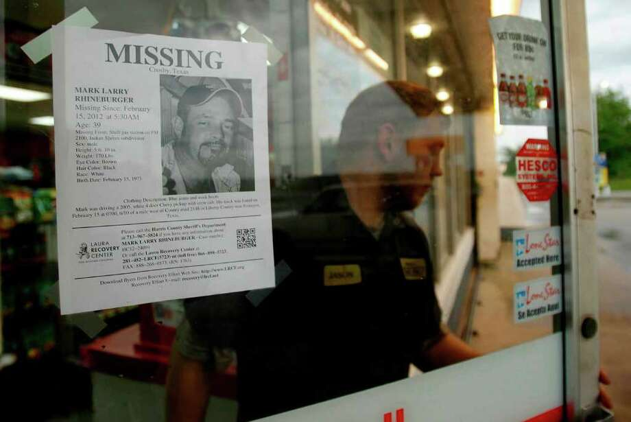 A flier of Mark Rhineburger is posted at a Shell gas station in Crosby, one of the last places the 39-year-old man was seen before he disappeared on Feb. 15. Photo: Mayra Beltran / © 2012 Houston Chronicle